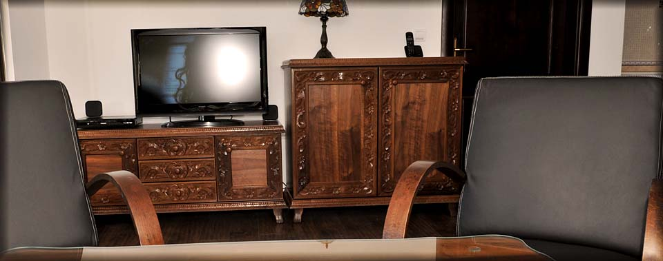Traditional furniture made by local wood carving masters